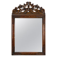 English Rectangular Mirror in Carved Frame of Walnut