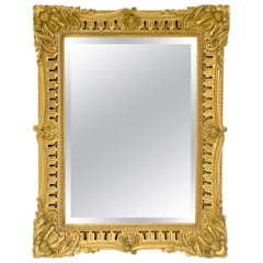 English Rectangular Beveled Mirror in Gilt Frame (H 35 1/4 x W 27)