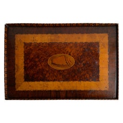 English Rectangular Inlaid Serving Tray With Conch Decor, 19th Century