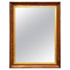 English Rectangular Maple and Gilt-wood Framed Mirror (H 41 3/4 x W 31 7/8)