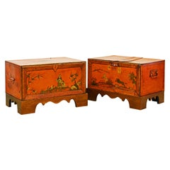 English Red Lacquer and Chinoiserie Painted Metal Trunks or Boxes w/ Stands Pair
