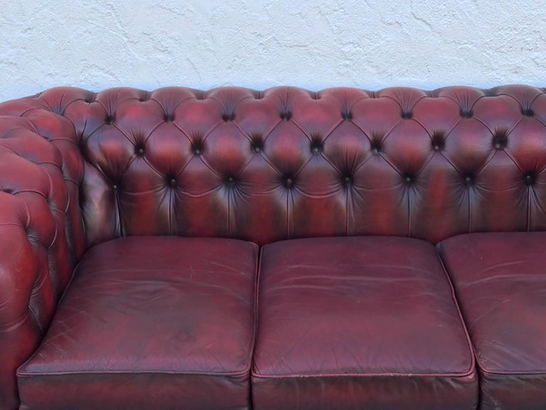 English Red Leather Chesterfield Sofa For Sale At 1stdibs