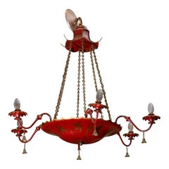English Red Tole Chandelier With Chinoiserie Decor