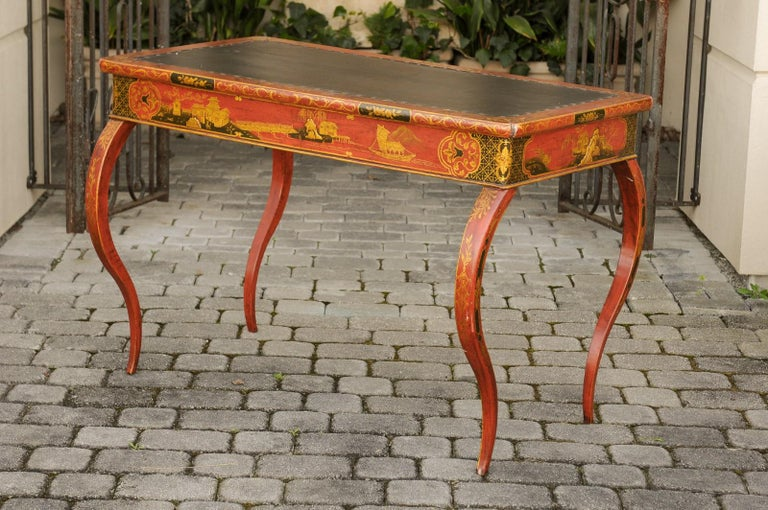English Regency 1820s Table with Red Lacquered, Gold and Black Chinoiserie Decor For Sale 5
