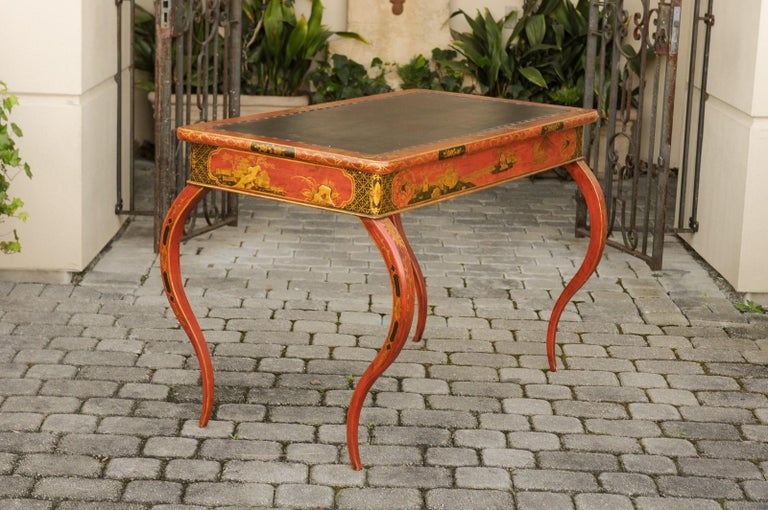 English Regency 1820s Table with Red Lacquered, Gold and Black Chinoiserie Decor For Sale 6