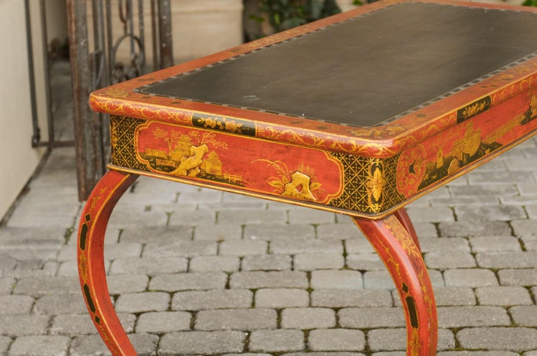 English Regency 1820s Table with Red Lacquered, Gold and Black Chinoiserie Decor For Sale 8