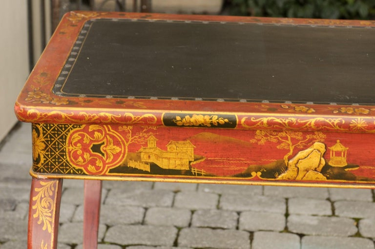 English Regency 1820s Table with Red Lacquered, Gold and Black Chinoiserie Decor In Good Condition For Sale In Atlanta, GA
