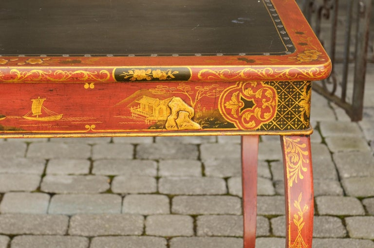 19th Century English Regency 1820s Table with Red Lacquered, Gold and Black Chinoiserie Decor For Sale