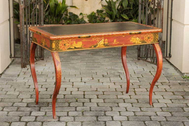 English Regency 1820s Table with Red Lacquered, Gold and Black Chinoiserie Decor For Sale 3