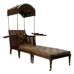English Regency 19th Century Hooded Leather Convertible Armchair Chaise