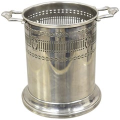 English Regency Adams Silver Plate Wine Bucket Holder Coaster Chiller with Urns