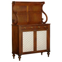 English Regency Antique Mahogany and Brass Cabinet Sideboard Server