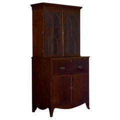 English Regency Antique Mahogany Butler's Bookcase and Desk, circa 1820
