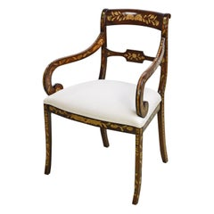 English Regency Armchair with Marquetry, circa 1820