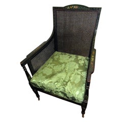 English Regency Bergere Chair Painted Ebonized Wood and Cane