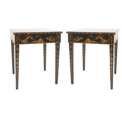 English Regency Black Lacquered Chinoiserie End Tables