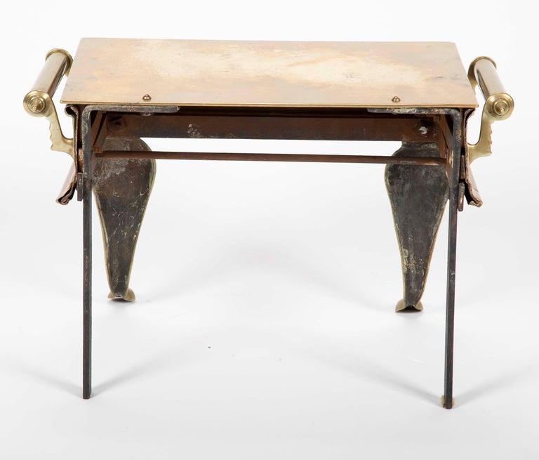 19th Century English Regency Brass Footman Stool or Side Table For Sale 7
