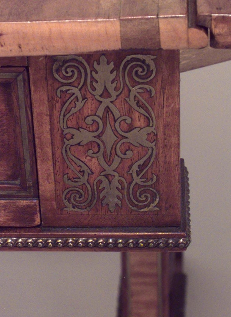English Regency Brass Inlaid and Mounted Satinwood Sofa Table In Good Condition For Sale In New York, NY