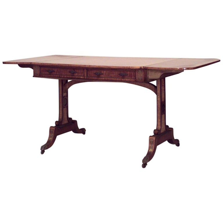 English Regency Brass Inlaid and Mounted Satinwood Sofa Table For Sale