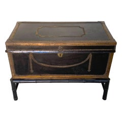 English Regency Brass Studded Leather Chest on Stand