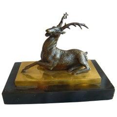English Regency Bronze Stag on Ormolu & Marble Base