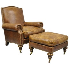 English Regency Brown Leather Gator Embossed Lounge Chair & Ottoman by Pearson