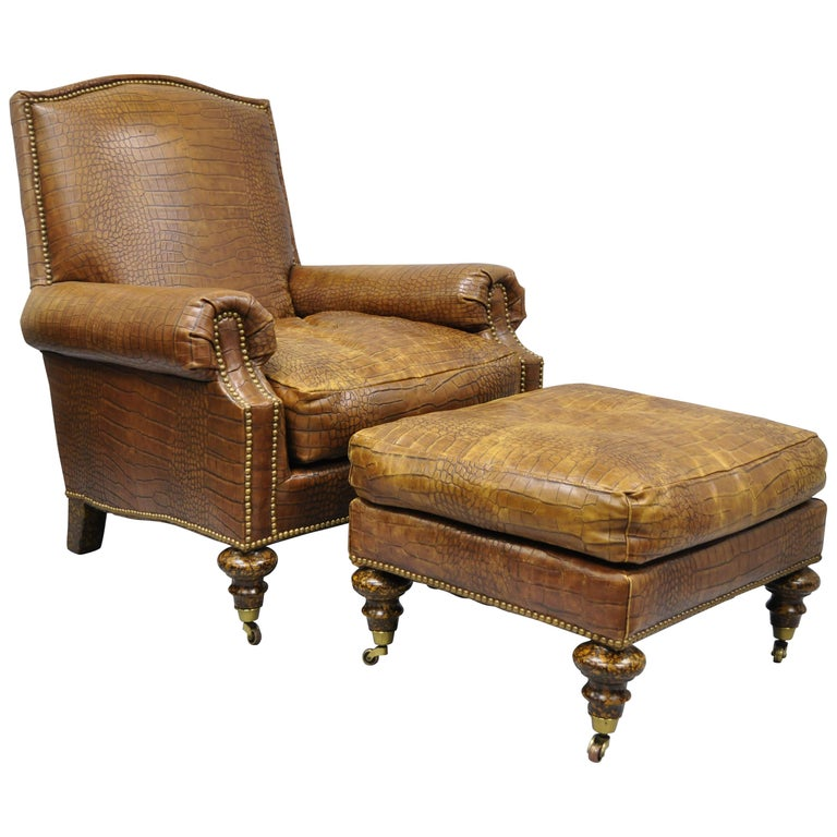 Terrific English Regency Brown Leather Gator Embossed Lounge Chair Ottoman By Pearson Ncnpc Chair Design For Home Ncnpcorg