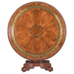 English Regency Burr Yew Wood Centre Table Attributed To George Bullock