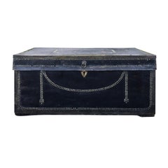 English Regency Camphor Wood and Black Leather Covered Trunk, circa 1810s-1820s
