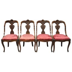 English Regency Carved Mahogany Curved Back Dining Side Chairs, Set of 4