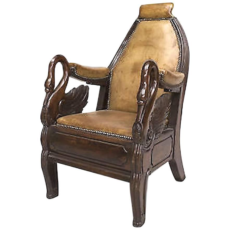 English Regency Carved Mahogany Swan Design Armchair