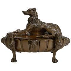 English Regency Cast Dog Bronze Desk Inkwell or Compendium, Lurcher, circa 1820