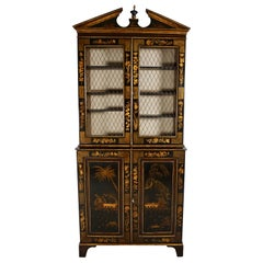 English Regency Chinoiserie Black and Gilt Bookcase Cabinet