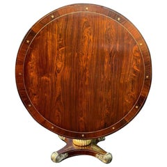 English Regency Circular Brass Inlaid Pedestal Centre Table, circa 1820