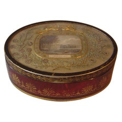 English Regency Cranberry Glass and Toleware Box with Inset Embroidery