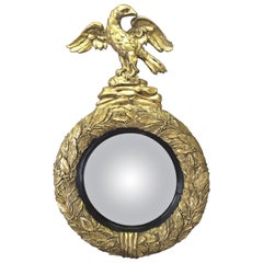 English Regency Eagle Gilt Convex Bullseye Mirror