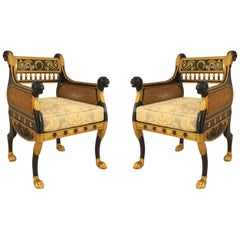 English Regency Ebonized Bergère Armchairs