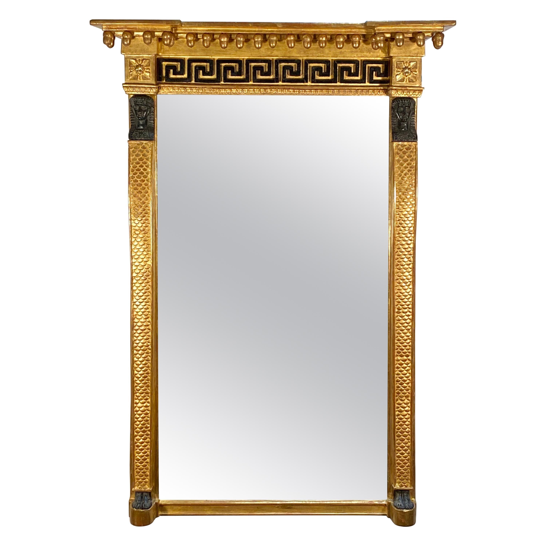 English Regency Egyptian Motif Gilt Pillar Mirror, Early 19th Century