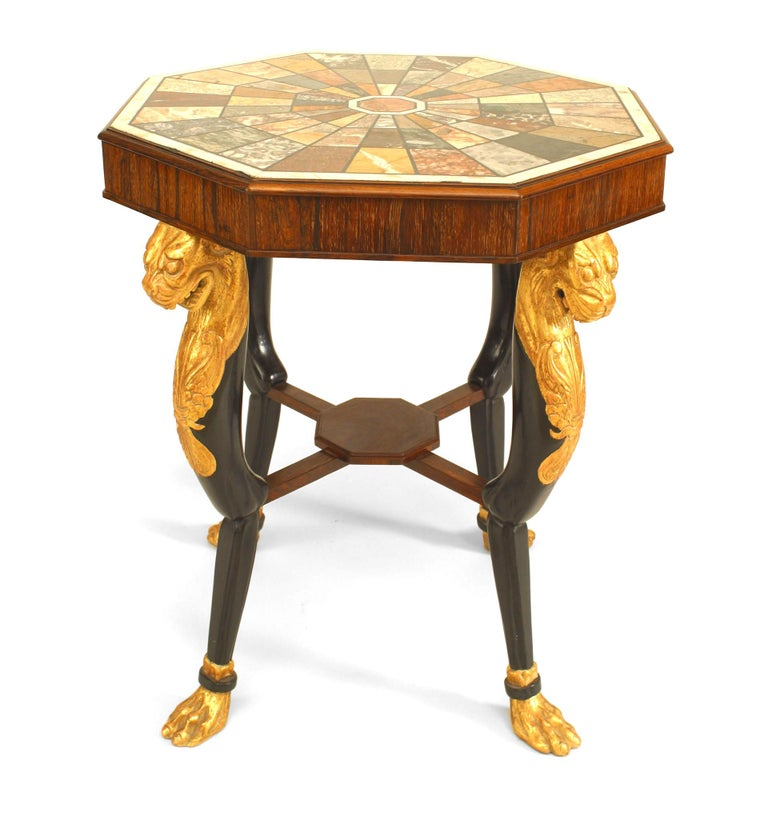 19th Century English Regency Style Specimen Marble Top with Gilt Lion Mounts For Sale