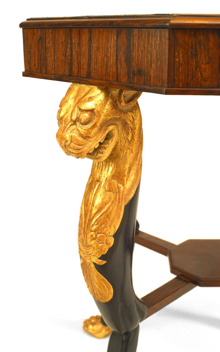 Rosewood English Regency Style Specimen Marble Top with Gilt Lion Mounts For Sale