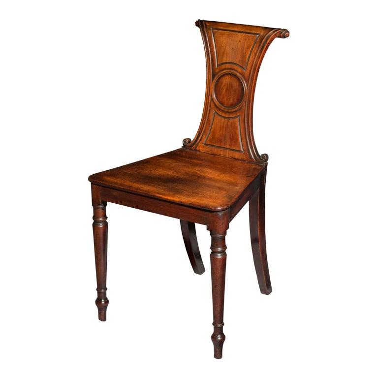 English Regency Faded Mahogany Hall Chair For Sale 6