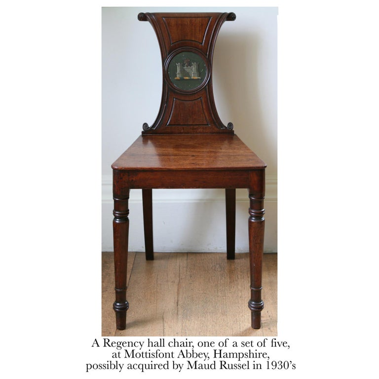 Hand-Carved English Regency Faded Mahogany Hall Chair For Sale