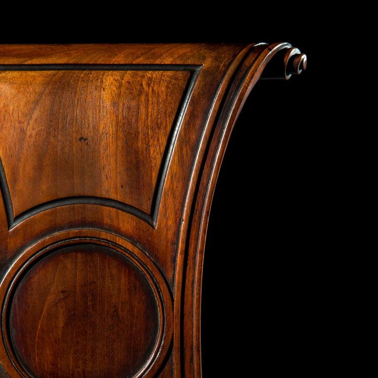 19th Century English Regency Faded Mahogany Hall Chair For Sale
