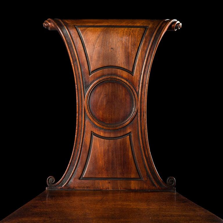 English Regency Faded Mahogany Hall Chair For Sale 2