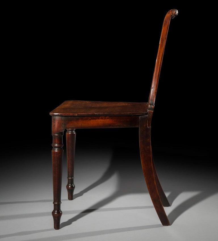 English Regency Faded Mahogany Hall Chair For Sale 4