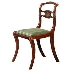 English Regency, Faux Rosewood and Brass Inlay Chair