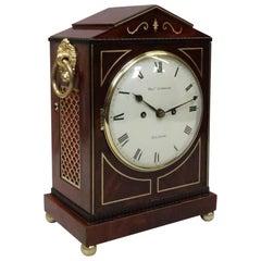 English Regency Figured Mahogany Bracket Clock by Thomas Connald