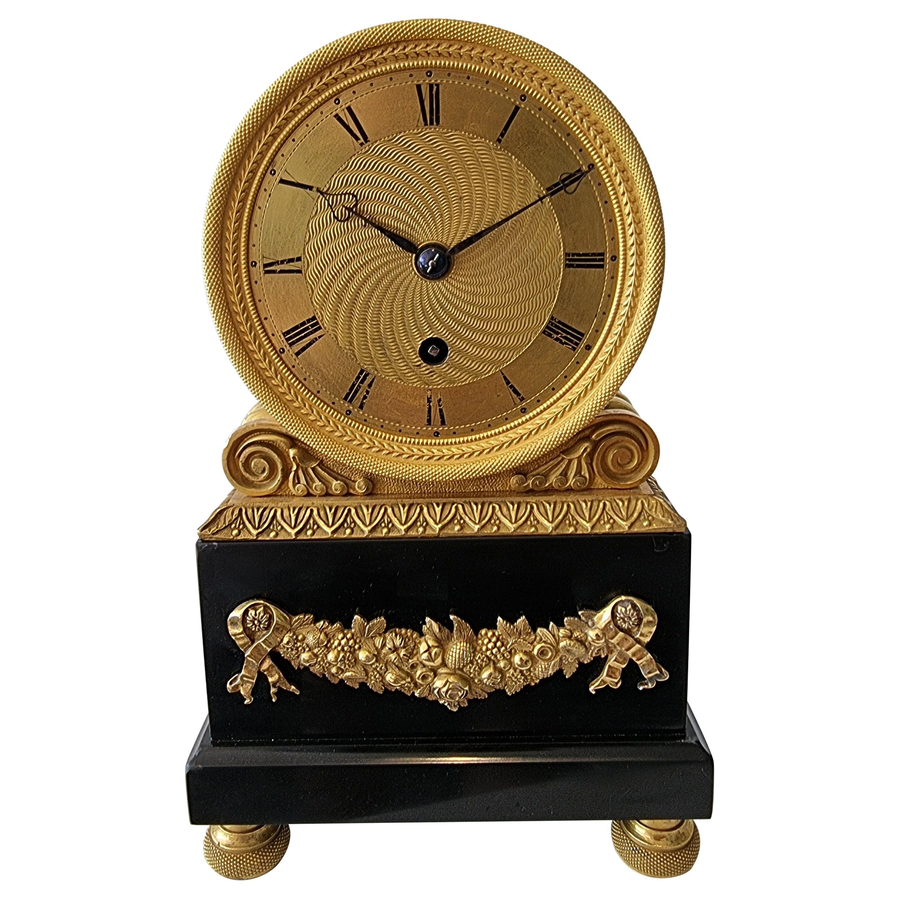 English Regency Fusee Mantel Clock, by Viner in Ormolu and Derbyshire Marble
