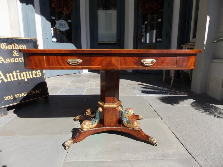 English Regency Mahogany Gilt and Inlaid Four-Drawer Library Table, Circa 1800 For Sale 1