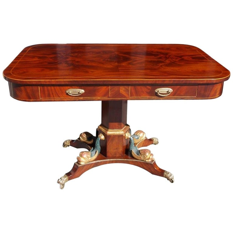 English Regency Mahogany Gilt and Inlaid Four-Drawer Library Table, Circa 1800 For Sale